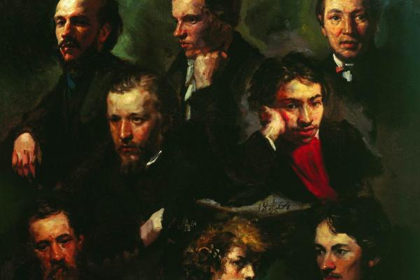 Василий Максимович Максимов. Автопортрет и портреты товарищей. 1864