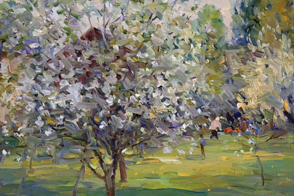 Alexander Victorovich Shevelyov. Flowering trees. HDF, oil 30 x 35 cm. 2014