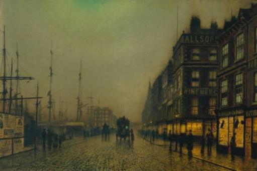 John Atkinson Grimshaw. Liverpool in the moonlight