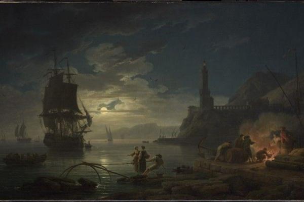 Клод Жозеф Верне. Прибрежная сцена в в лунном свете