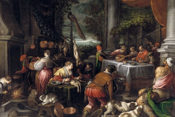 Leandro Bassano. The rich man and Lazarus