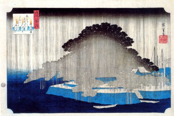 "Utagawa Hiroshige. Night rain in Karasaki. A series of ""Eight images of the environs of Edo"""