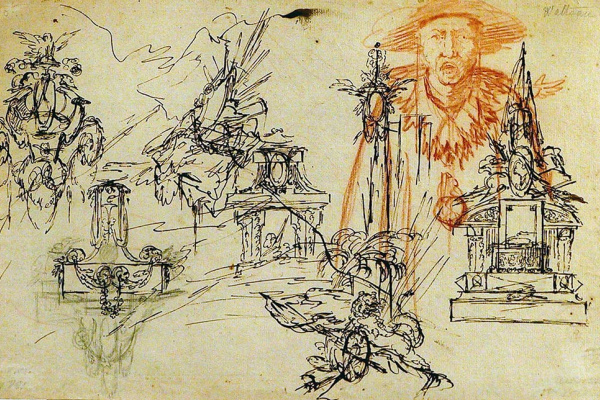 Antoine Watteau. An outline sheet. Decorative motifs.