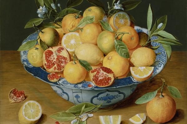 Якоб ван Хюльсдонк. Натюрморт с лимонами, апельсинами и гранатами