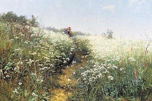 Иван Иванович Шишкин. Женщина под зонтиком на цветущем лугу