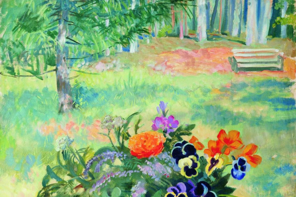 Борис Михайлович Кустодиев. Букет цветов на балконе