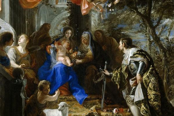 Клаудио Коэльо. Мадонна с Младенцем и поклоняющимся Святым Людовиком Французским