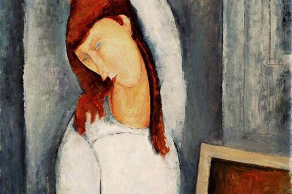 Амедео Модильяни. Портрет Жанны Эбютерн, поправляющей левой рукой распущенные волосы
