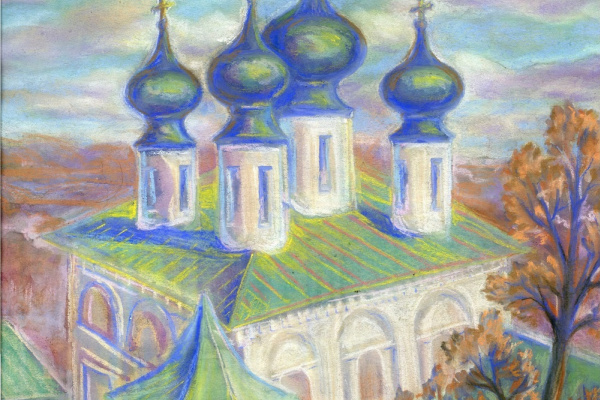 Hope L. Kamenskaya. Cathedral in Tikhvin on a clear day