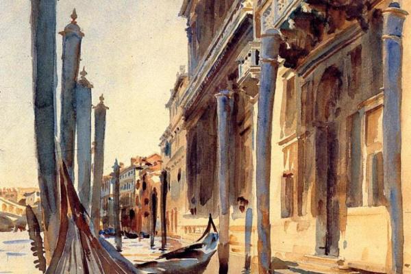 Джон Сингер Сарджент. Гранд-канал, гондолы у причала. Венеция