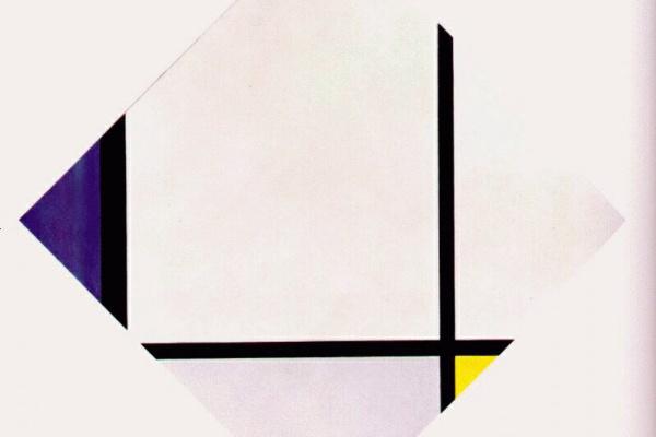 Пит Мондриан. Ромбическая композиция №3. Линии с синим, серым, желтым