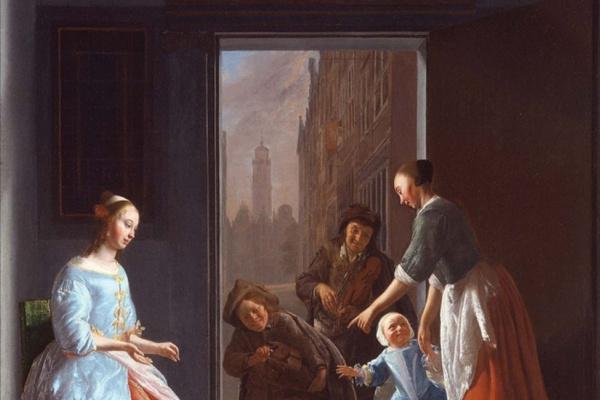 Jacob Lucas Ochterwelt. Street musicians at the door of a rich house