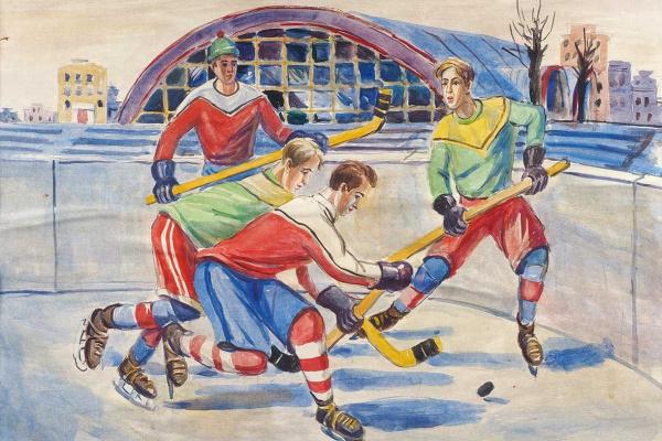 Александр Александрович Дейнека. Хоккеисты. Эскиз к мозаике. 1959-1960 гг.