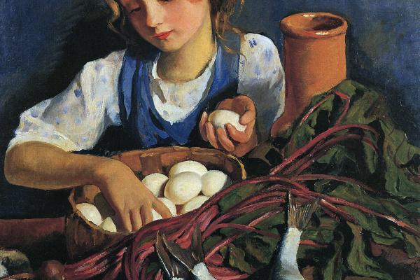 Зинаида Евгеньевна Серебрякова. На кухне. Портрет Кати