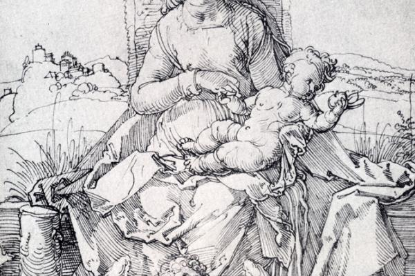 Альбрехт Дюрер. Мадонна с младенцем и музицирующим ангелом