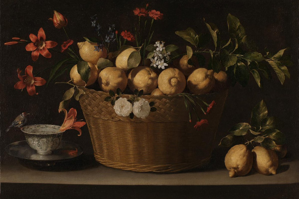 Хуан де Сурбаран. Натюрморт с лимонами в плетёной корзине