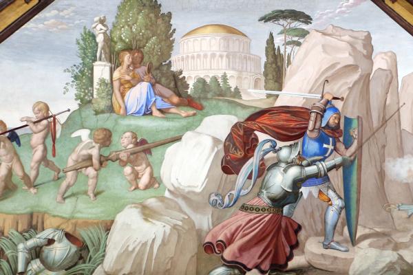 Johann Friedrich Overbeck. The frescoes of the villa Massimo, Tasso Hall: Ubaldo and Carlo free Rinaldo