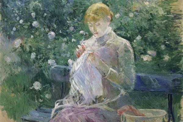 Берта Моризо. Паси за шитьем в саду в Буживале