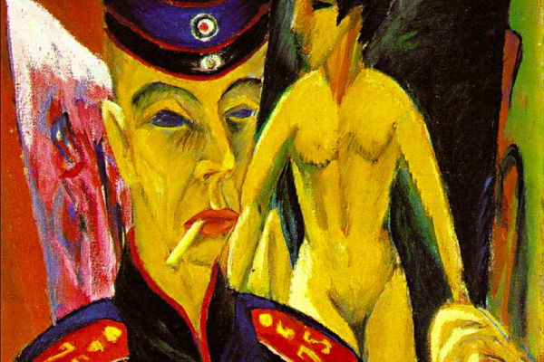 Ernst Ludwig Kirchner. Self-portrait in uniform