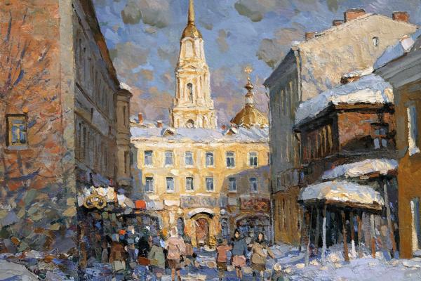 Александр Викторович Шевелёв. Rybinsk. Voznesensky lane. Oil on canvas 40.5 x 40.5 cm. 2016