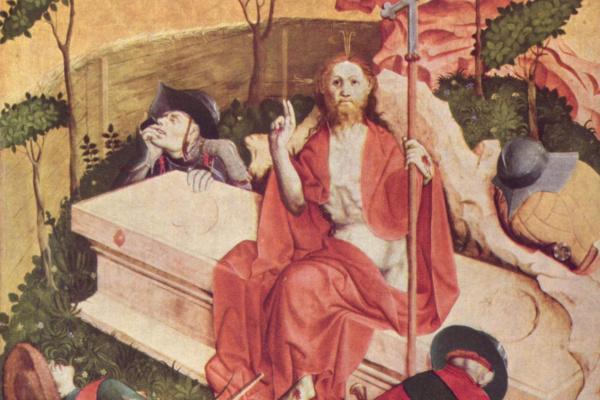 Ханс Мульчер. Алтарь Страстей из Вурцаха, правая внутренняя створка, сцена внизу. Воскресение Христово