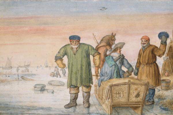 Hendrik Avercamp. Older men next to the gentleman in the sleigh