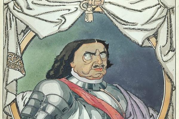 Дмитрий Стахиевич Моор (Орлов). Шаржированный портрет императора Петра I   Ватман,  перо