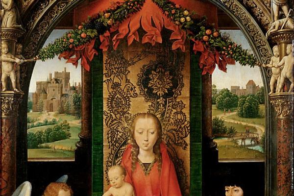 Ганс Мемлинг. Малый триптих Святого Иоанна Крестителя. Центральная панель:  Мария с ребенком на троне, ангел и неизвестный донатор