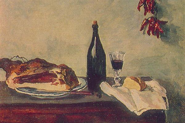 Petr Petrovich Konchalovsky. Still life. Bread, ham and wine