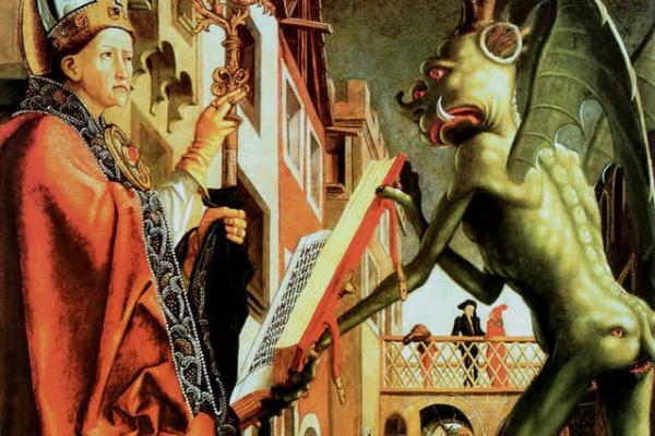 Михаэль Пахер. Алтарь Отцов церкви. Правая створка: Отец церкви Августин и сатана