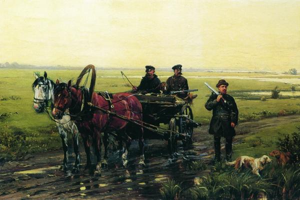 Николай Семенович Самокиш. Охотничья сцена. 1884