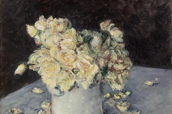 Гюстав Кайботт. Желтые розы в вазе