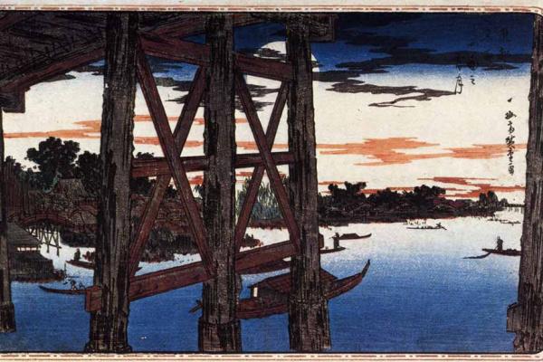 Утагава Хиросигэ. Луна из-под моста Рёгоку