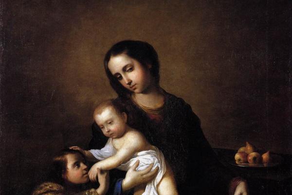 Francisco de Zurbaran. Madonna with the infant Christ and St John the Baptist