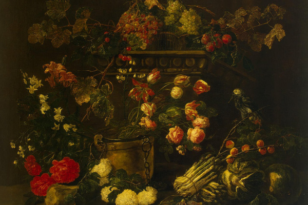 Ян Фейт. Натюрморт с цветами, фруктами и попугаем