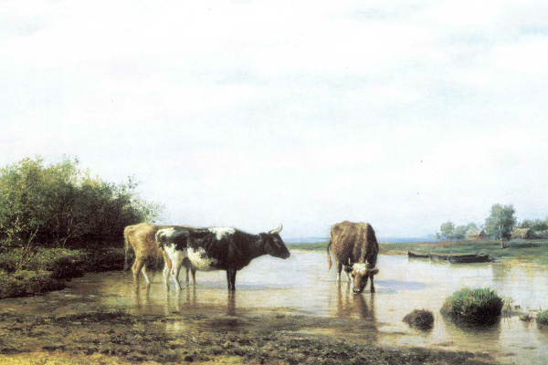 Mikhail Konstantinovich Klodt. Cows at the watering