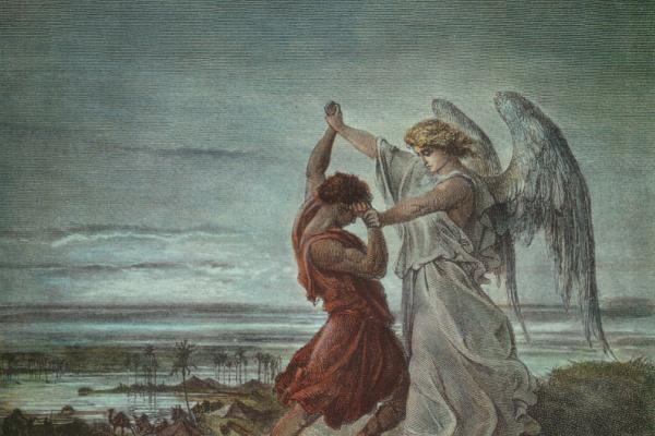 Поль Гюстав Доре. Иллюстрации к Библии: Иаков борется с Ангелом