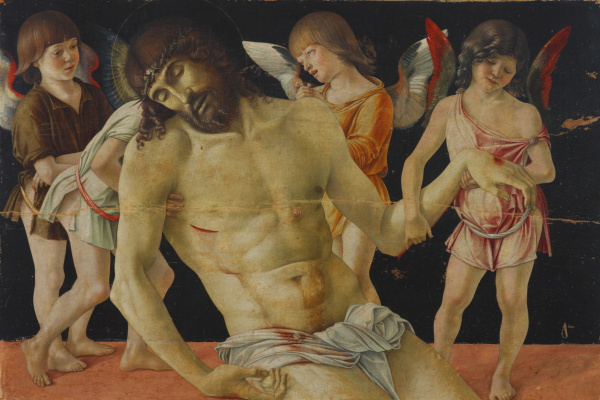 Giovanni Bellini. Pieta. The Dead Christ, supported by angels