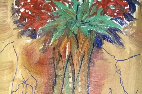 TV project Nugget Artist. Flowers on brown.