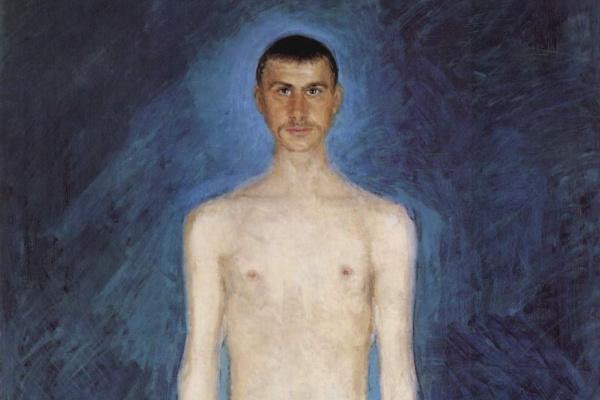 Рихард Герстль. Автопортрет полуобнаженным на синем фоне