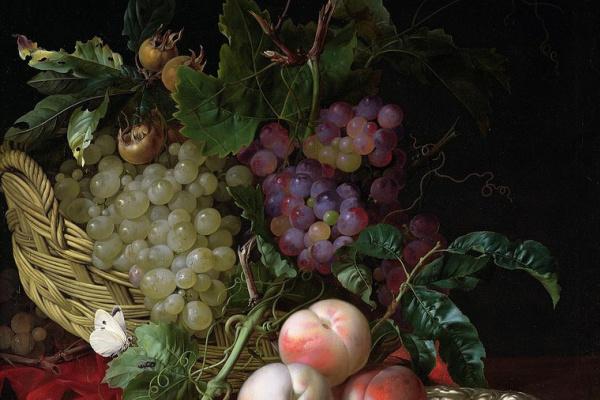 Виллем ван Алст. Натюрморт с корзиной, виноградом, каштанами и персиками на блюде