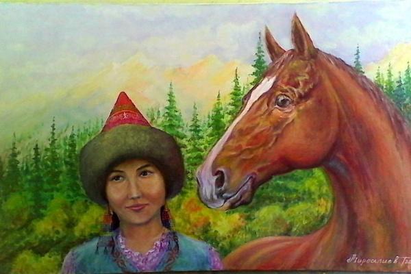 Токторали Мирсалиев. Девушка с конем