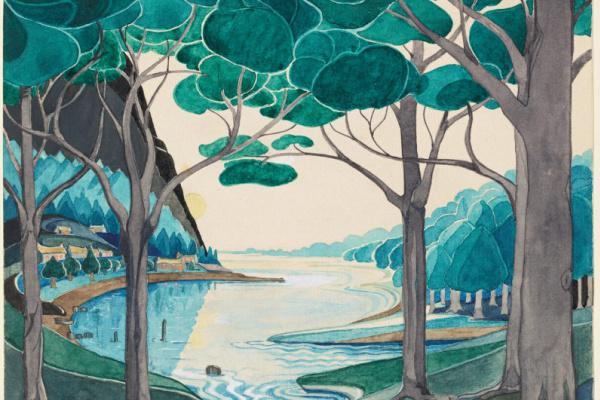 John Ronald Reuel Tolkien. Bilbo floats on a Forest river