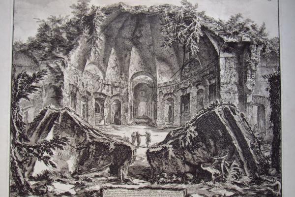"""Giovanni Battista Piranesi. """"Avanzi del Tempio di Dio Canopo nella Villa Adriana in Tivoli"""""""