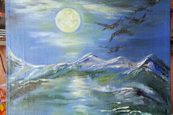 Valiantsin. Moonlit night in the mountains