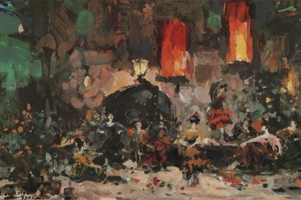 "Konstantin Korovin. Spanish tavern. A sketch of the scenery for the ballet by L. Minkus ""don Quixote"" at the Mariinsky theatre"