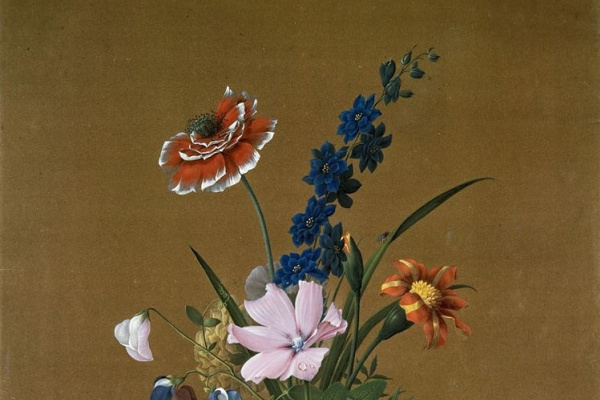 Федор Петрович Толстой. Букет цветов, бабочка и птичка