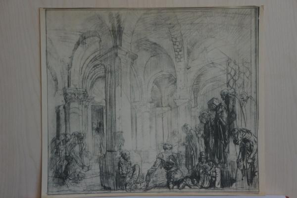 Frank William Brangwyn. Cloister, Airvault Church Paris