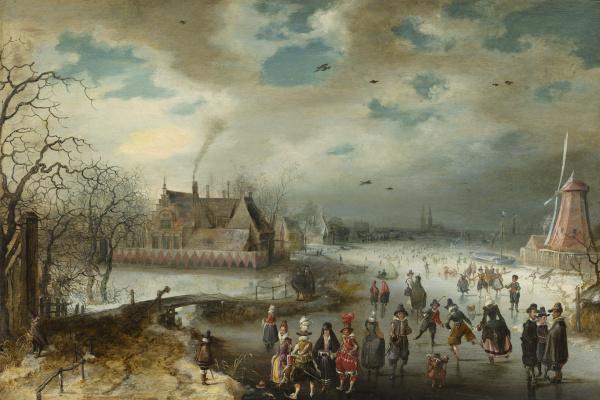 Адам ван Брин. Катание на льду реки Амстел