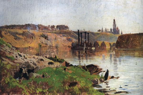 Исаак Ильич Левитан. На реке (Пароход на Волге)
